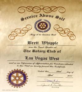 Service Above Self Award to Bret Whipple Rotary International